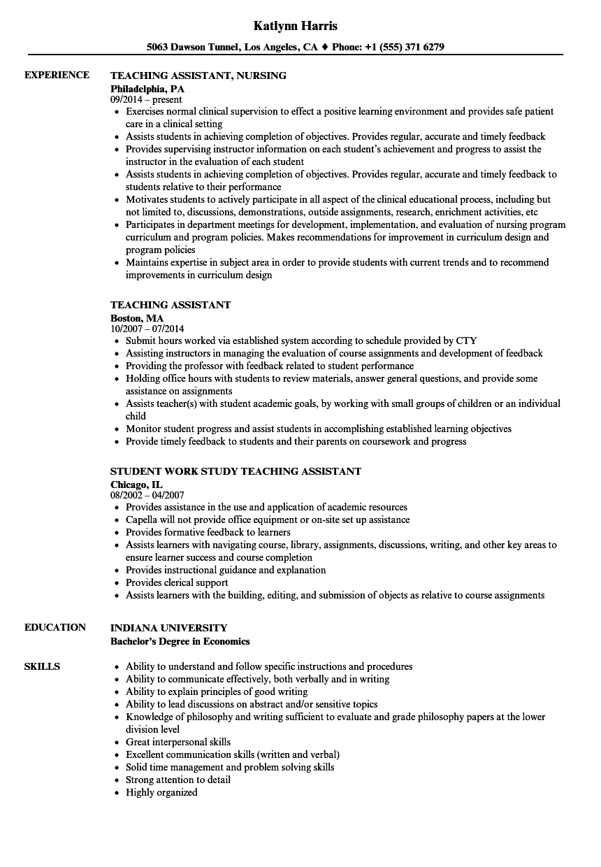 Resume For Teacher Assistant Plks Tk