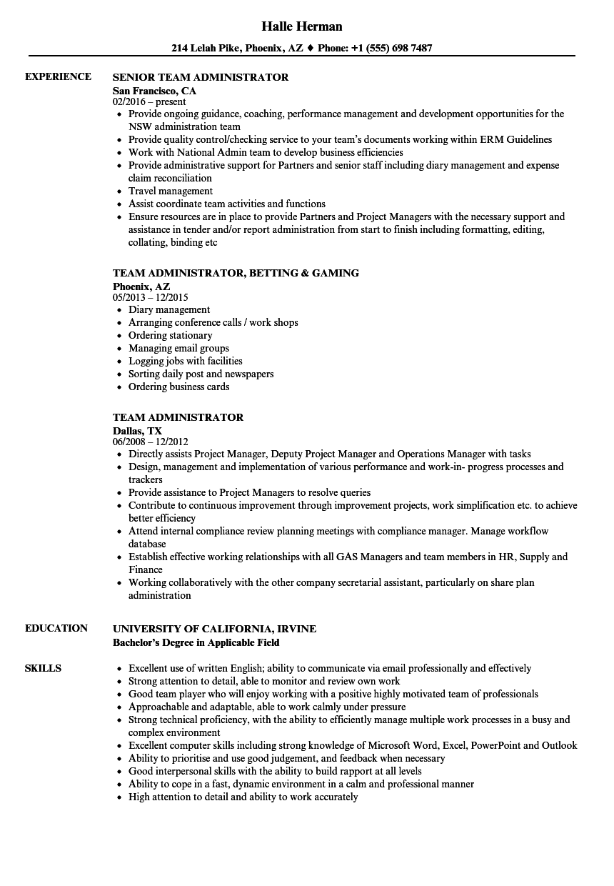 Download Team Administrator Resume Sample As Image File