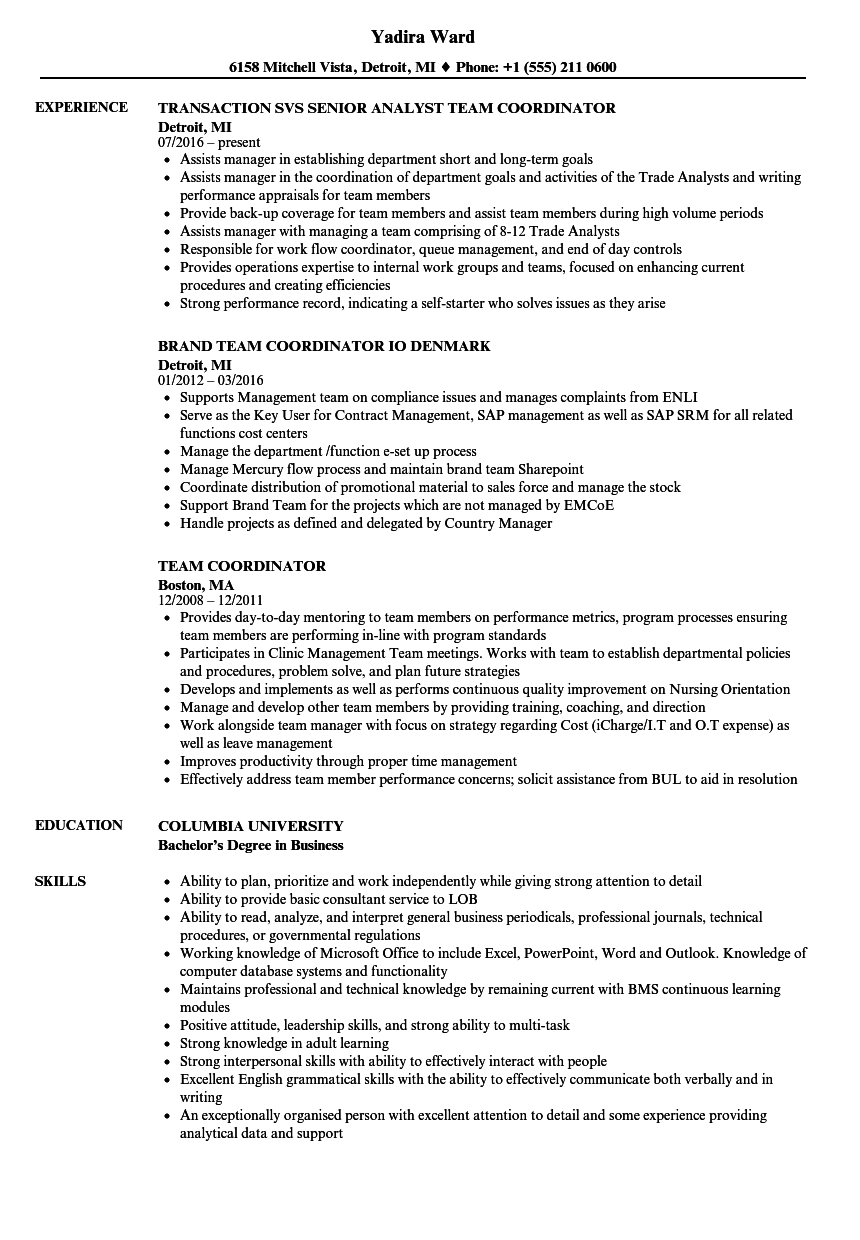 Team Coordinator Resume Samples | Velvet Jobs