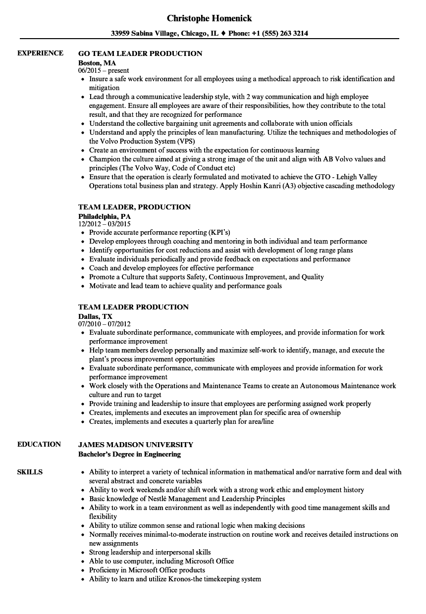 Team Leader Production Resume Samples | Velvet Jobs
