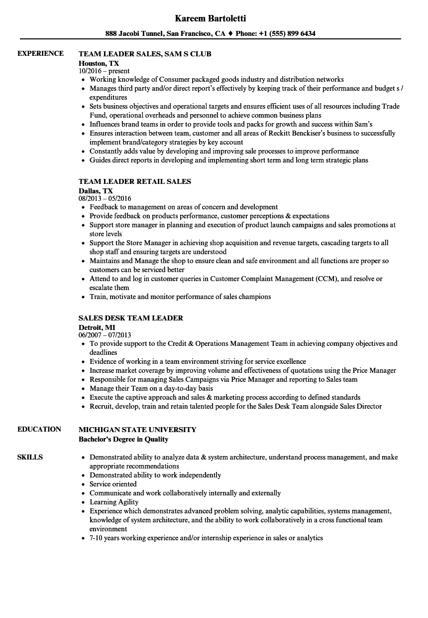 Team Leader, Sales Resume Samples | Velvet Jobs