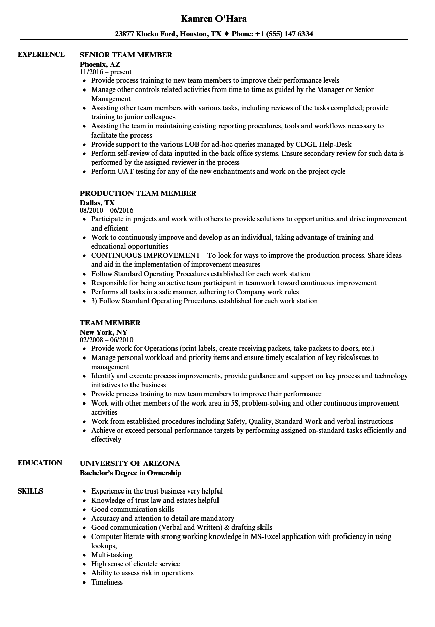 Team Member Resume Samples | Velvet Jobs