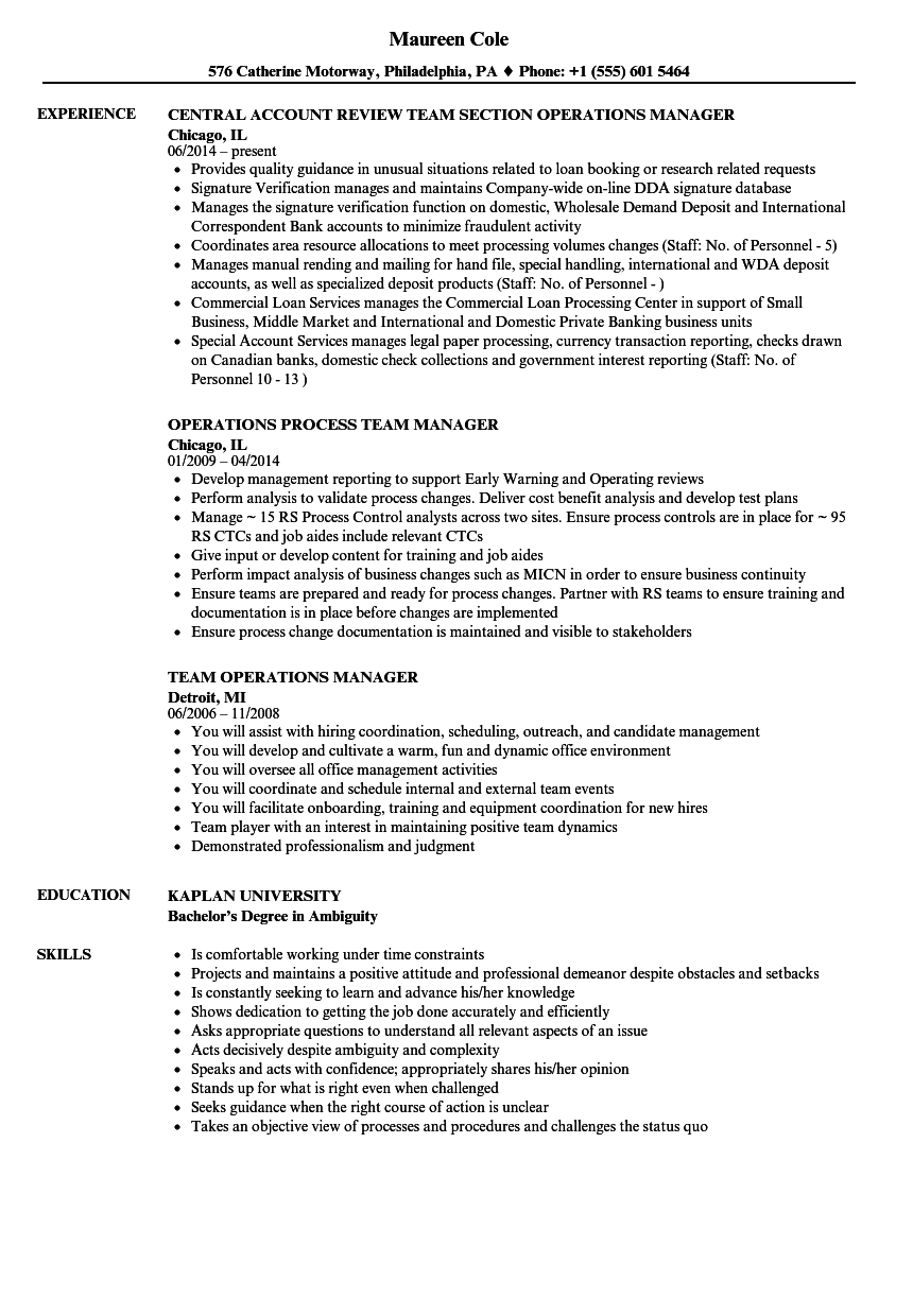 Team Operations Manager Resume Samples | Velvet Jobs