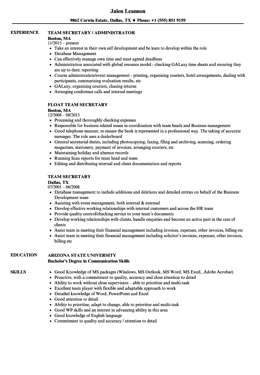 Team Secretary Resume Samples | Velvet Jobs