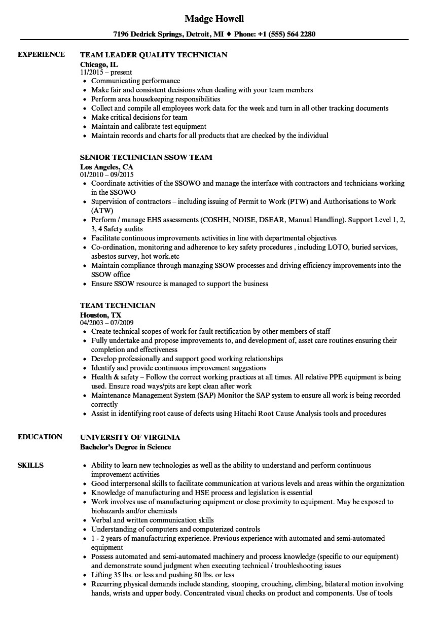 Team Technician Resume Samples | Velvet Jobs