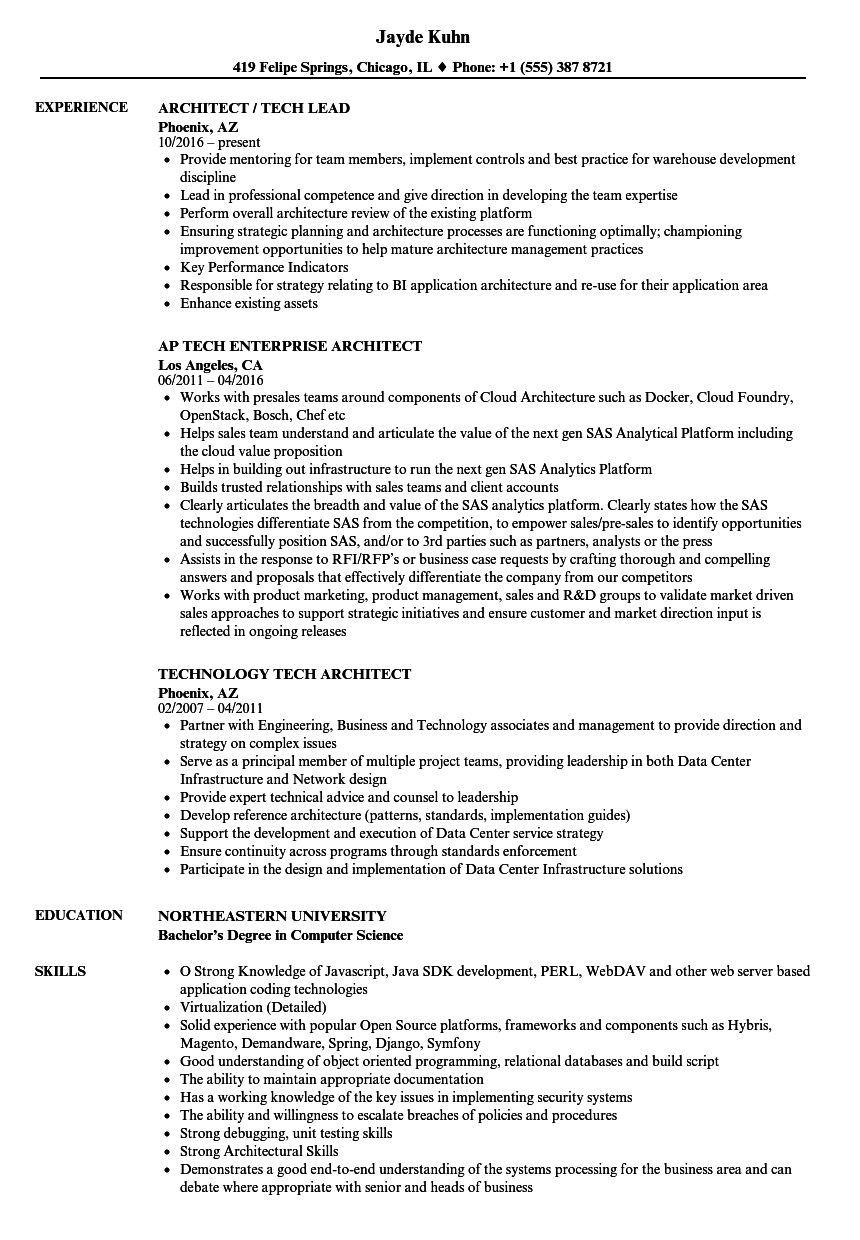 Tech Architect Resume Samples | Velvet Jobs