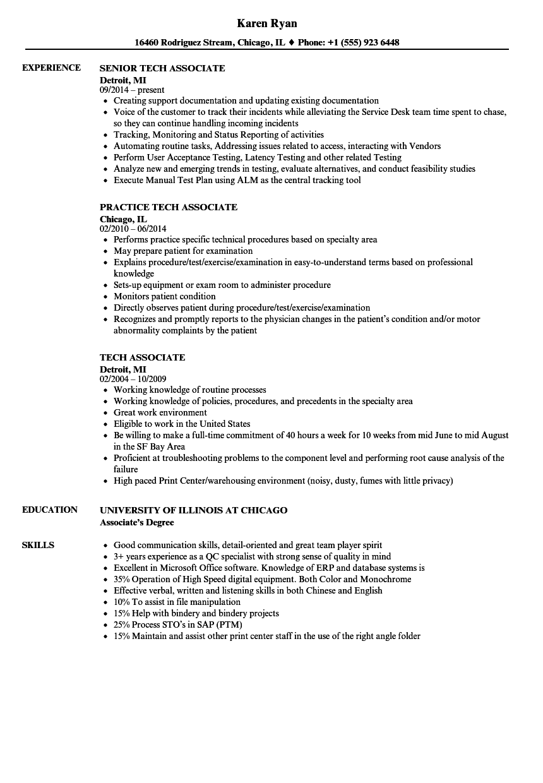 tech associate resume samples