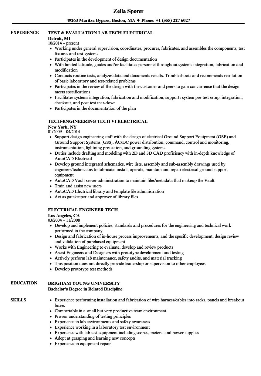 Download Tech-electrical Resume Sample as Image file