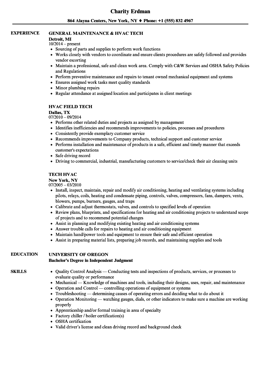 Tech Hvac Resume Samples | Velvet Jobs