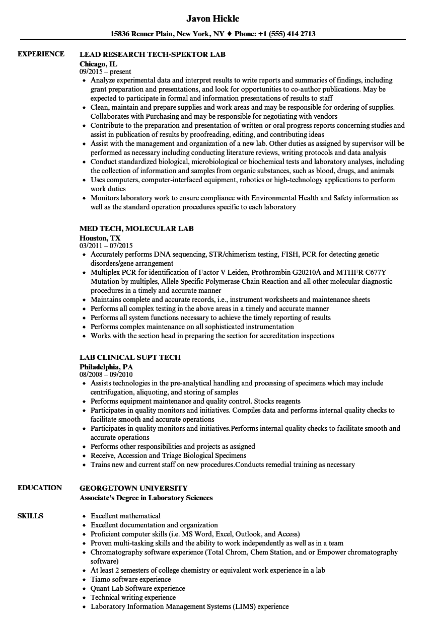 tech  lab resume samples