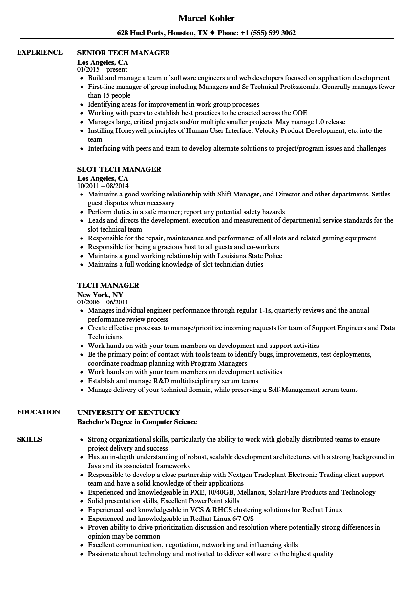 technician manager resume
