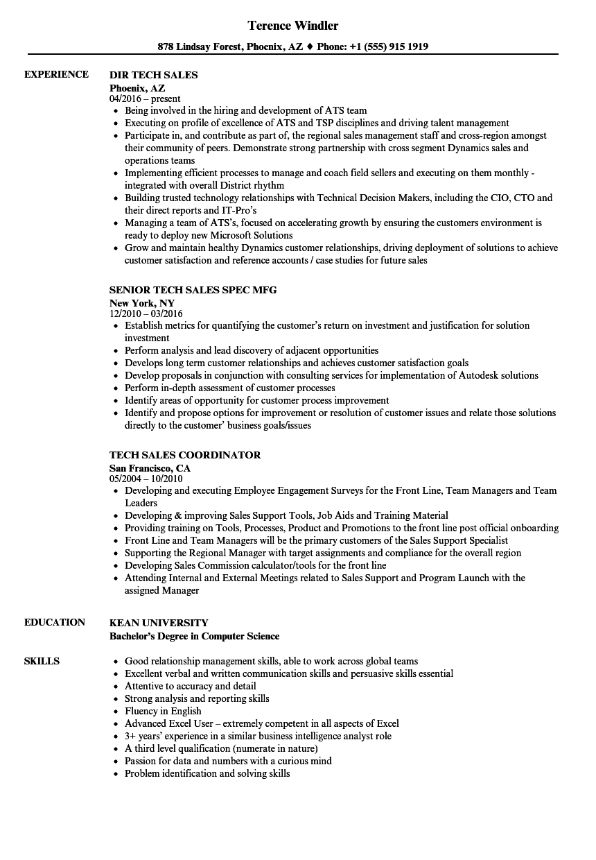 Tech Sales Resume Samples | Velvet Jobs