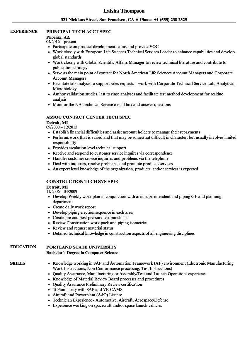 download tech spec resume sample as image file - State Department Physician Sample Resume