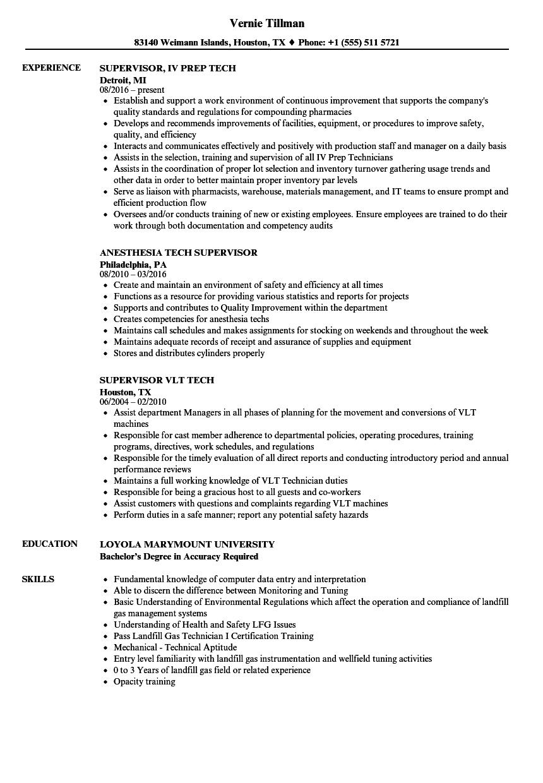 Tech Supervisor Resume Samples Velvet Jobs