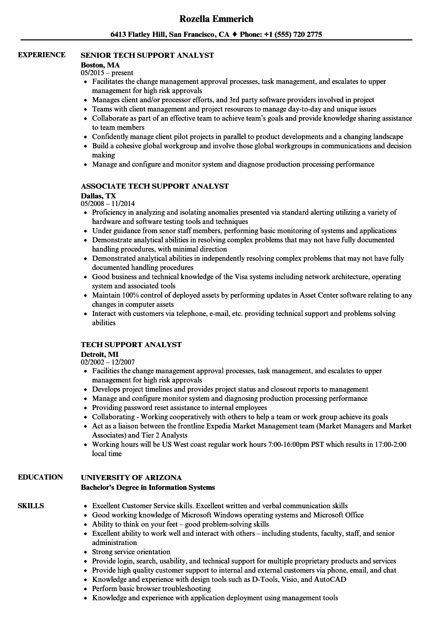 Attractive Download Tech Support Analyst Resume Sample As Image File