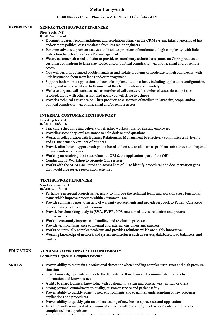tech support resume samples