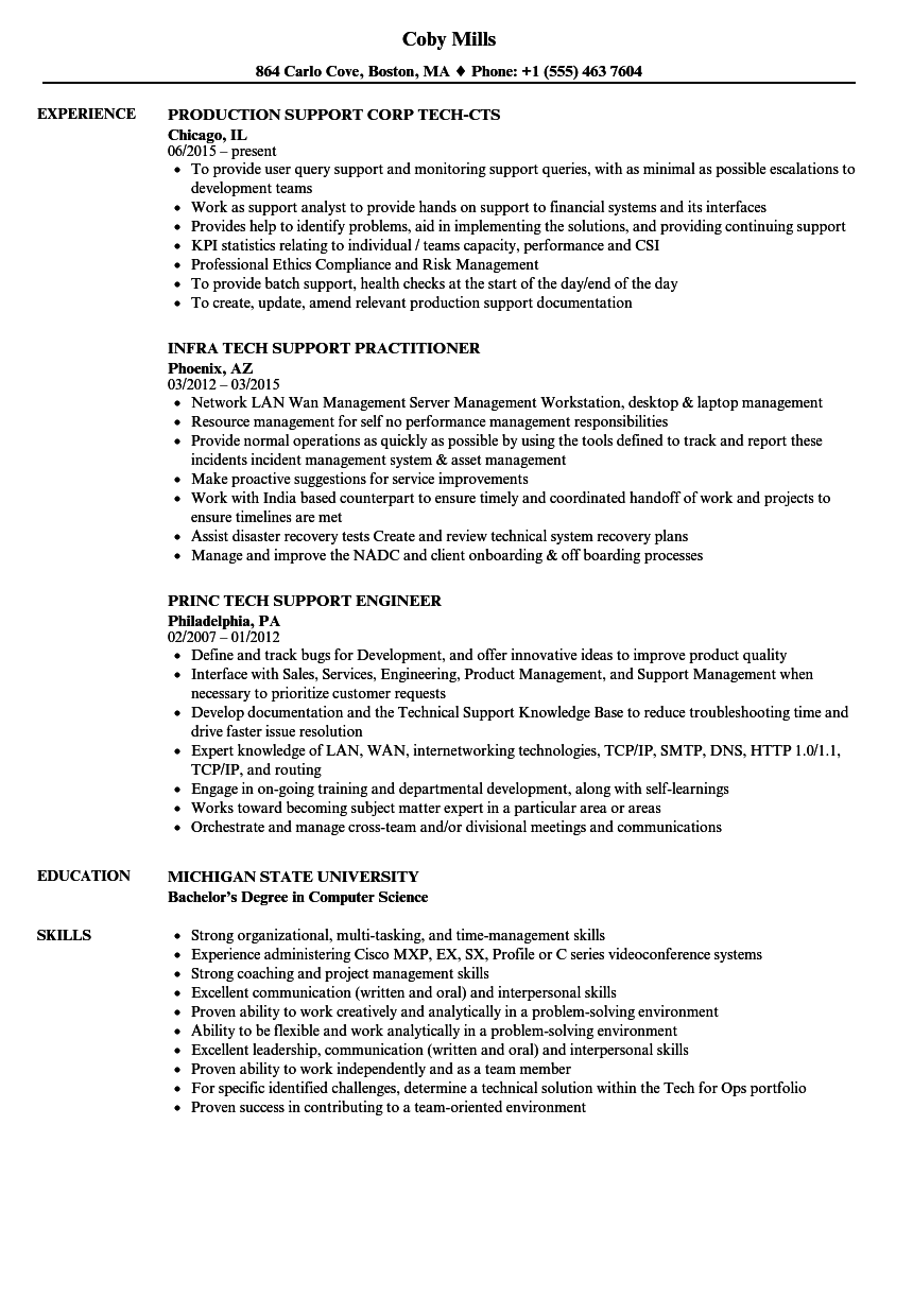 tech support resume