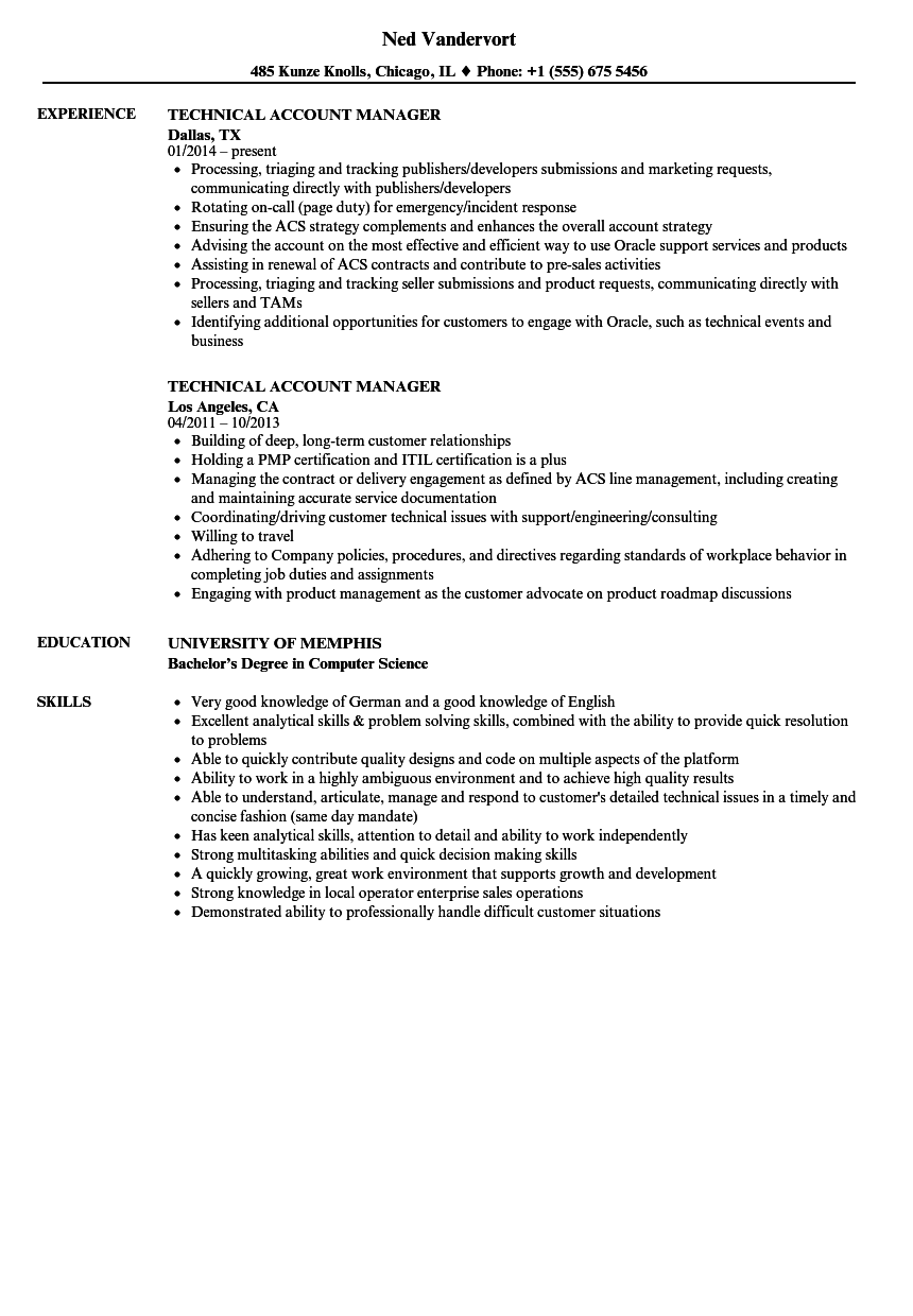 download technical account manager resume sample as image file