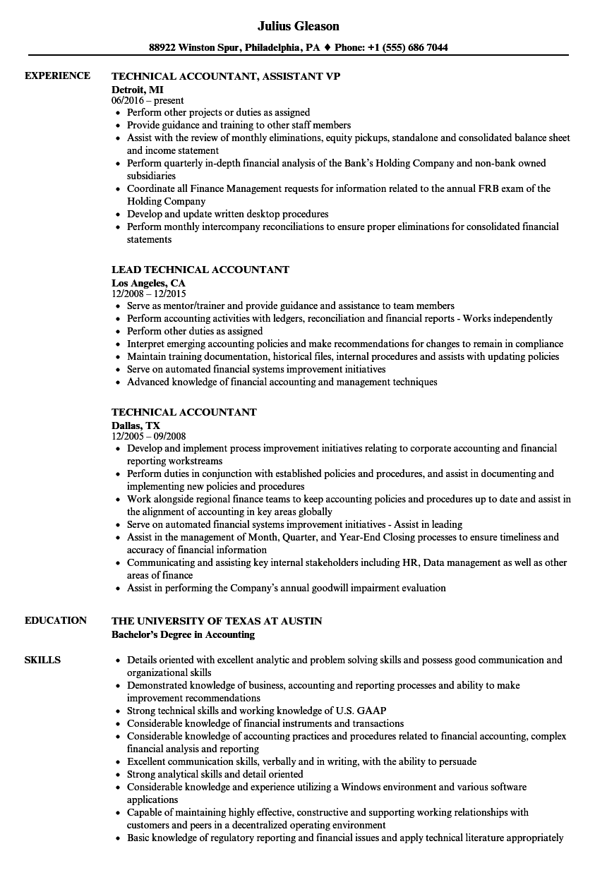 Technical Accountant Resume Samples | Velvet Jobs