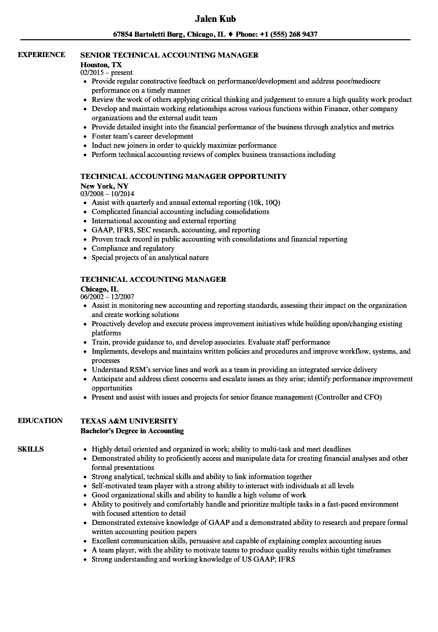 Technical Accounting Manager Resume Samples | Velvet Jobs