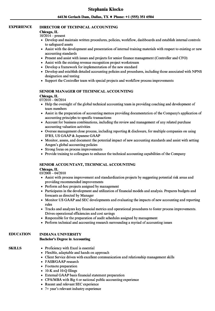 technical accounting resume samples