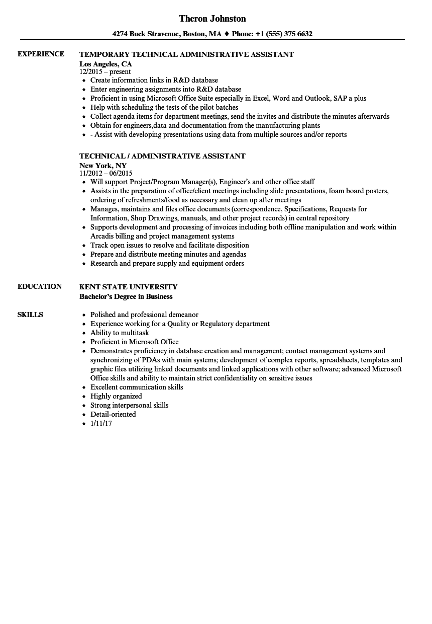 technical administrative assistant resume samples velvet jobs