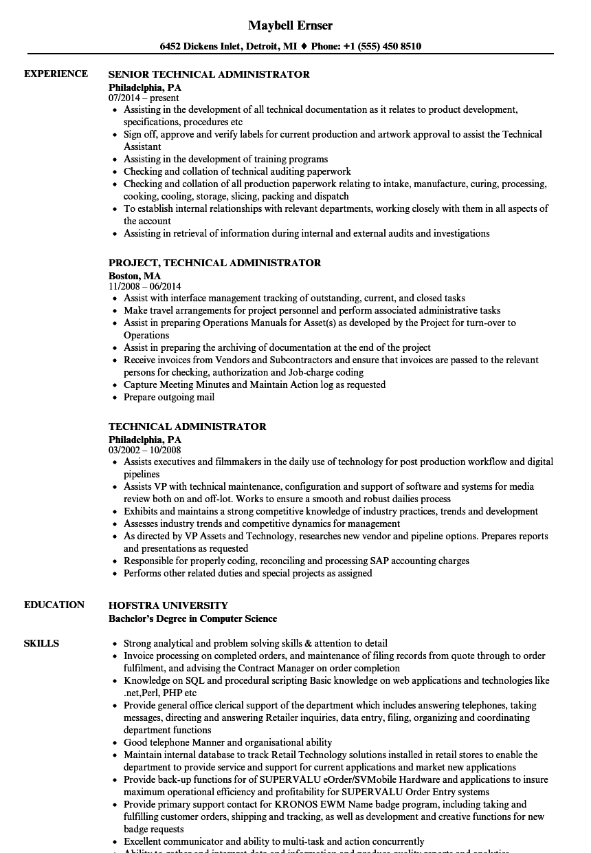 Download Technical Administrator Resume Sample As Image File  Admin Resume Examples