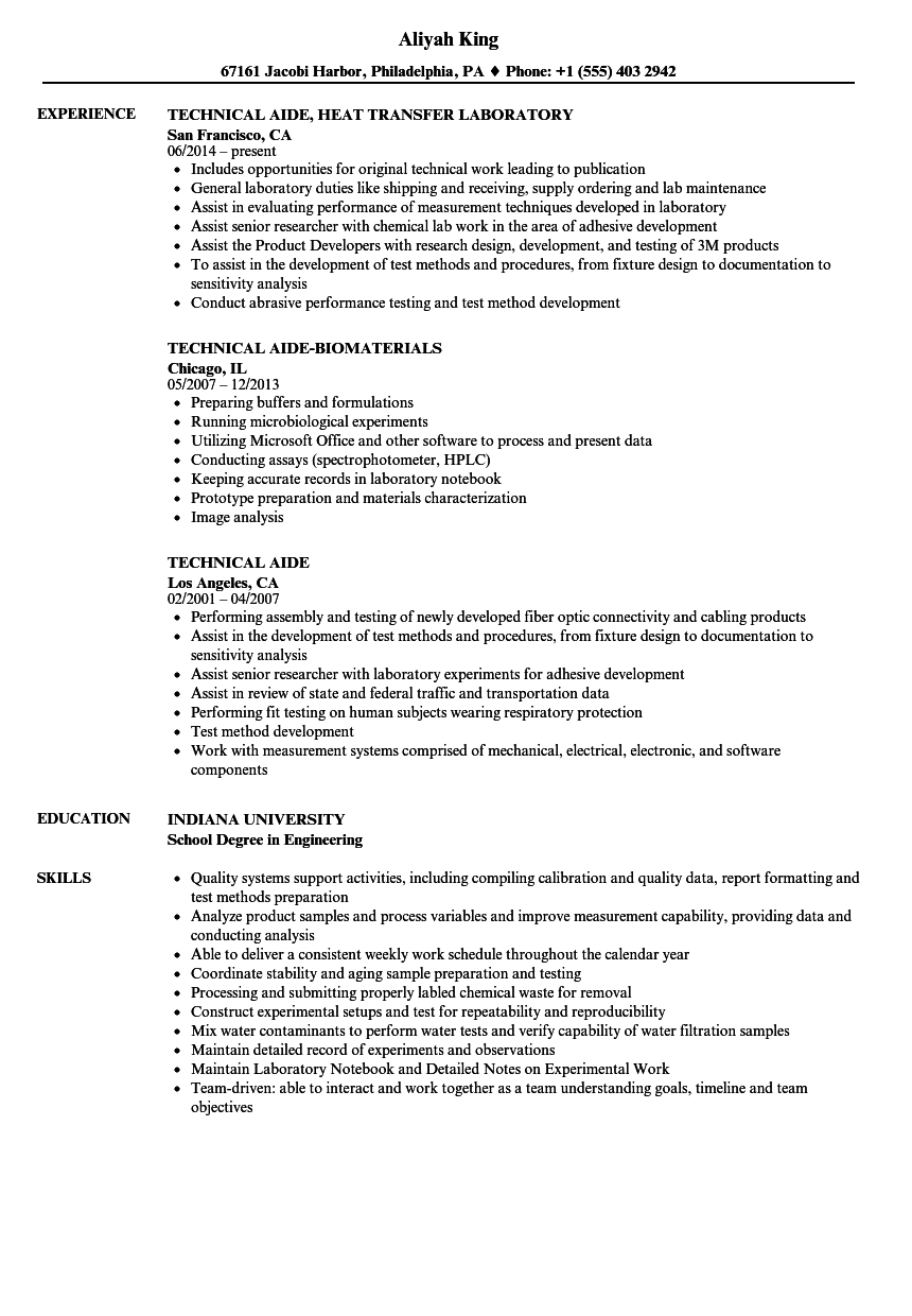 technical aide resume samples