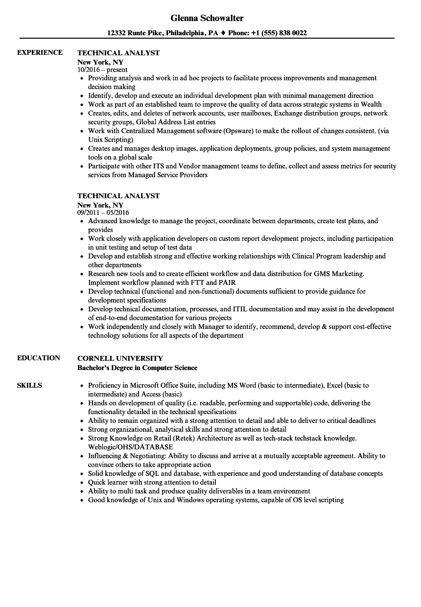 Technical Analyst Resume Samples | Velvet Jobs