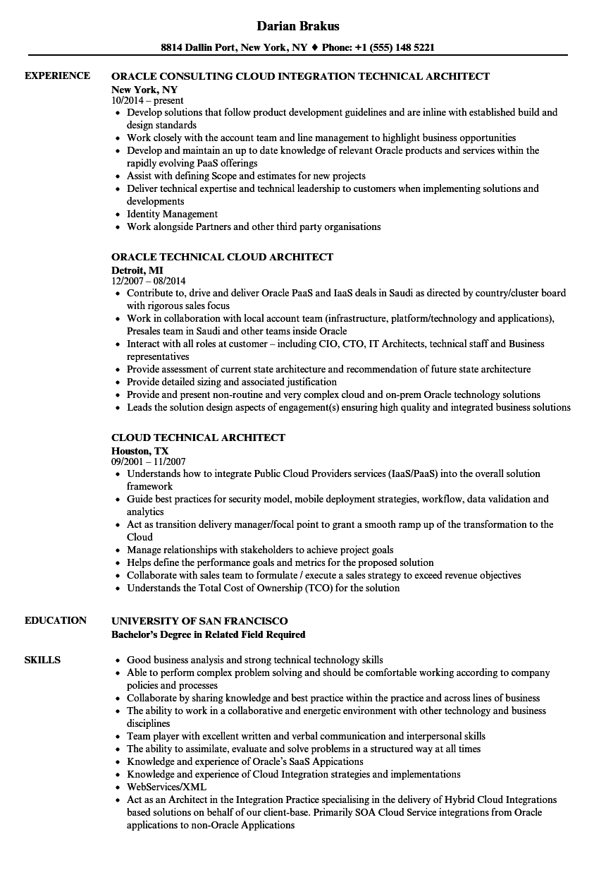 Technical Architect / Cloud Architect Resume Samples | Velvet Jobs