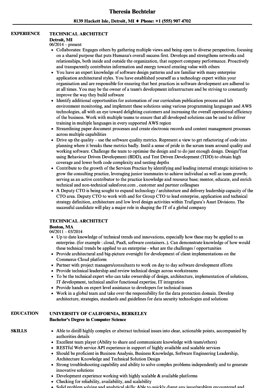 Technical Architect Resume Samples | Velvet Jobs