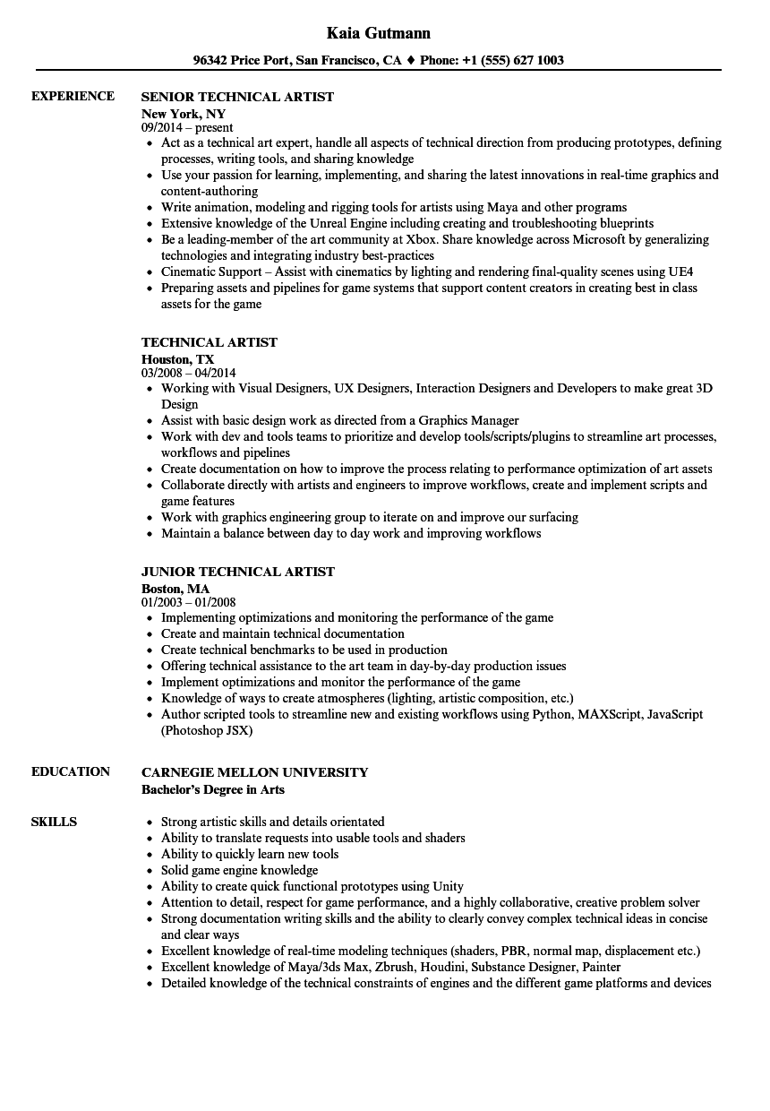 Technical Artist Resume Samples | Velvet Jobs
