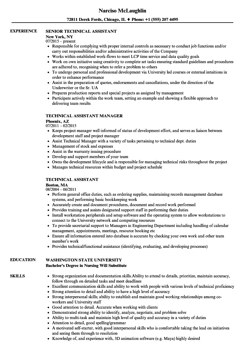 technical assistant resume samples