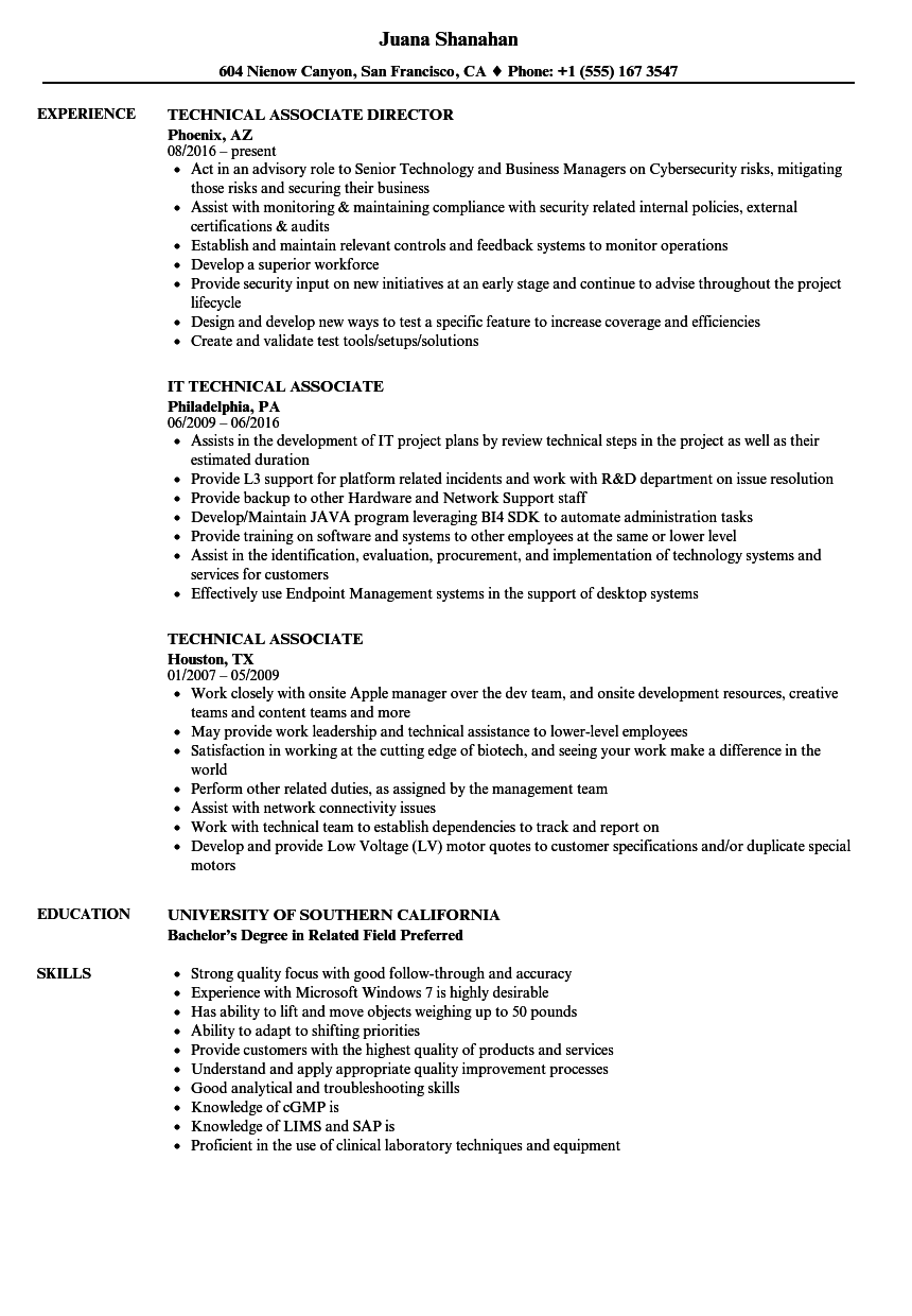 Technical Associate Resume Samples Velvet Jobs