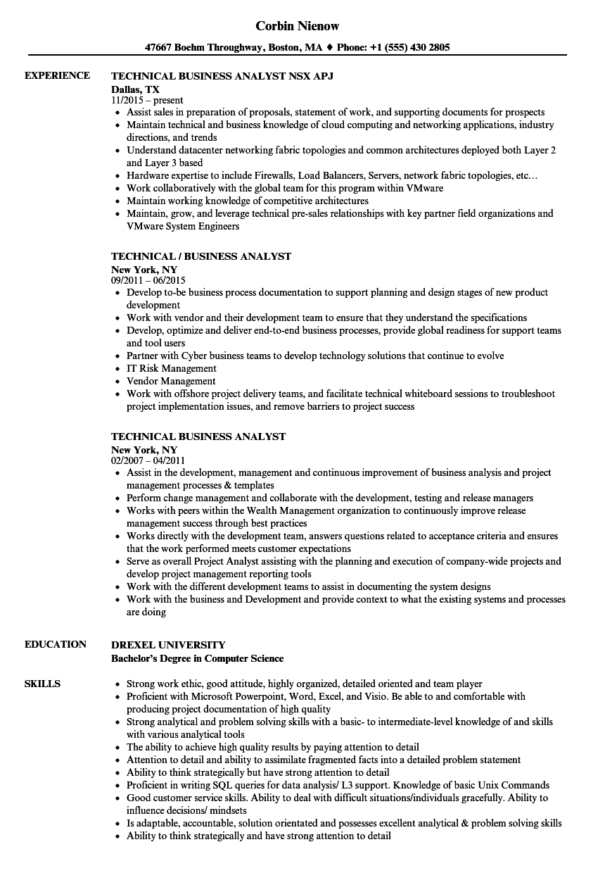 Download Technical Business Analyst Resume Sample As Image File