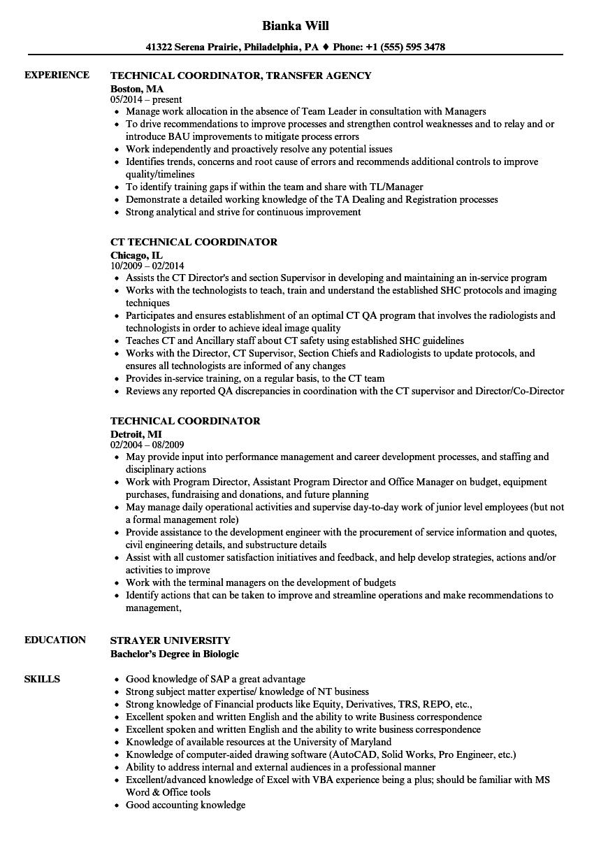 technical coordinator resume samples