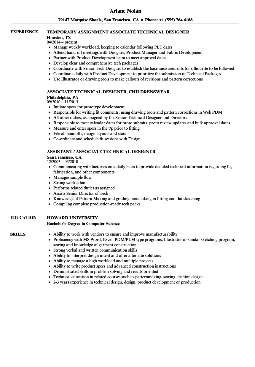 technical designer associate resume samples velvet jobs