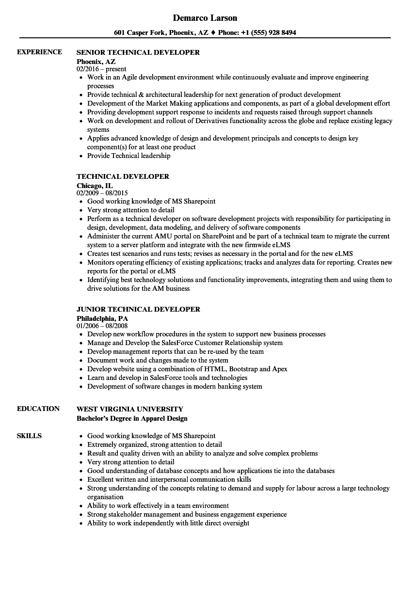 Technical developer resume samples velvet jobs related job titles falaconquin