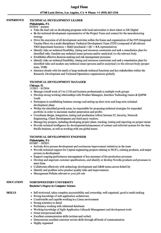 technical development resume samples