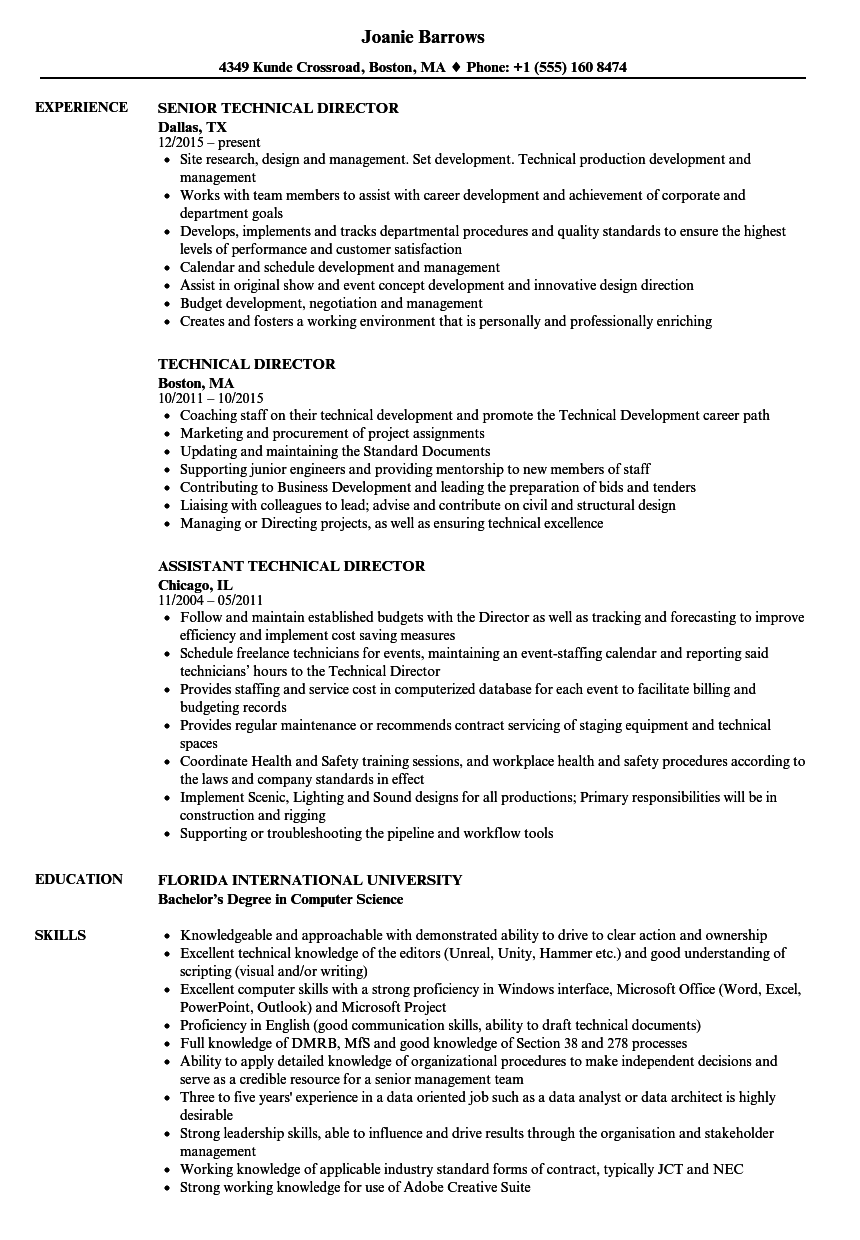 Technical director resume samples velvet jobs download technical director resume sample as image file yelopaper Images