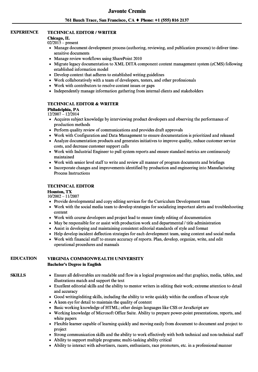 technical editor resume samples