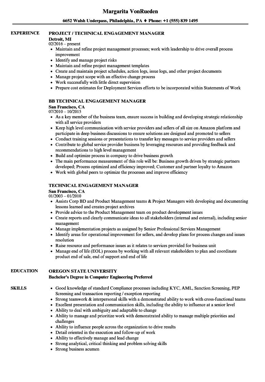 technical engagement resume samples