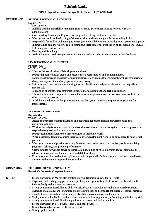 technical engineer resume samples velvet jobs