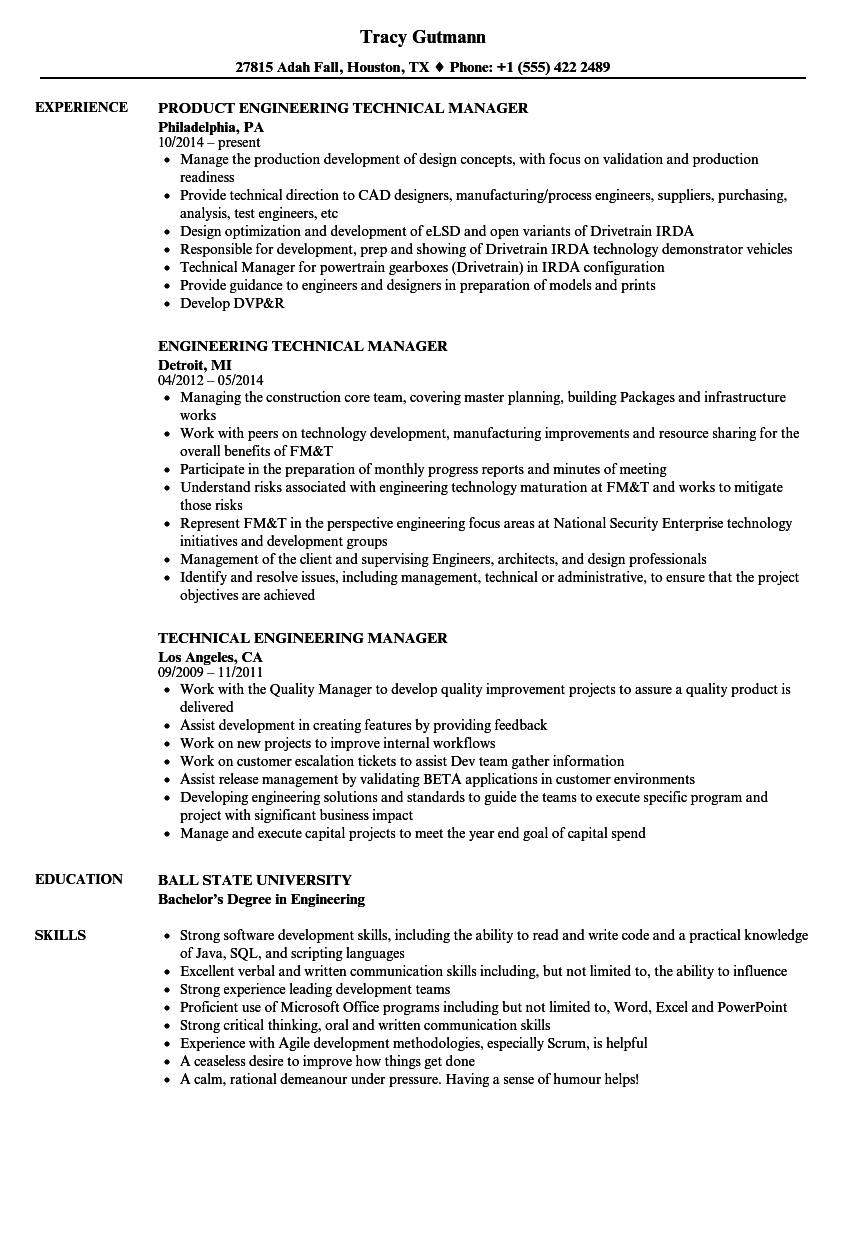 Technical Engineering Manager Resume Samples Velvet Jobs
