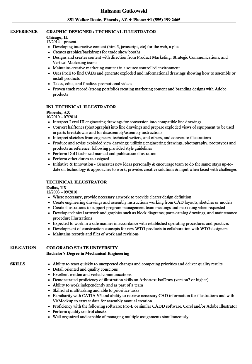 technical illustrator resume samples