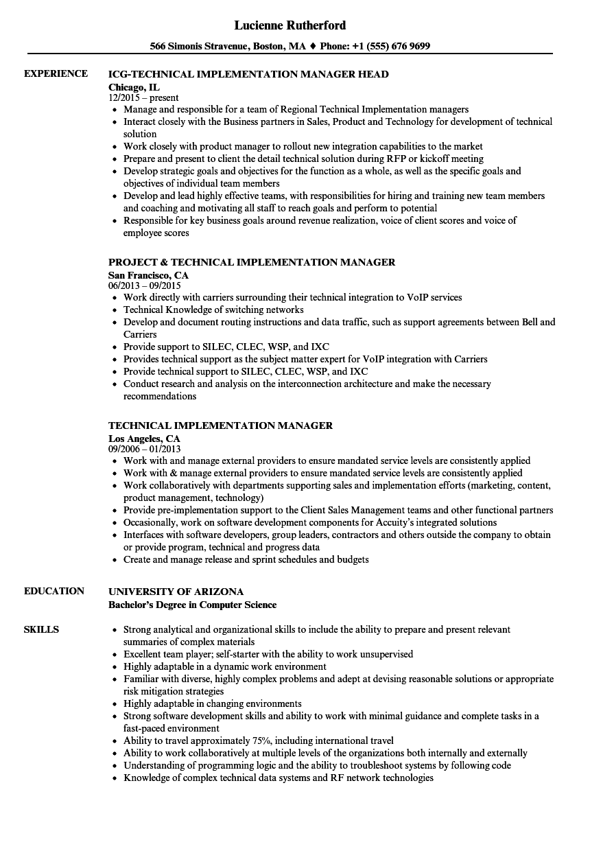 Technical Implementation Manager Resume Samples | Velvet Jobs