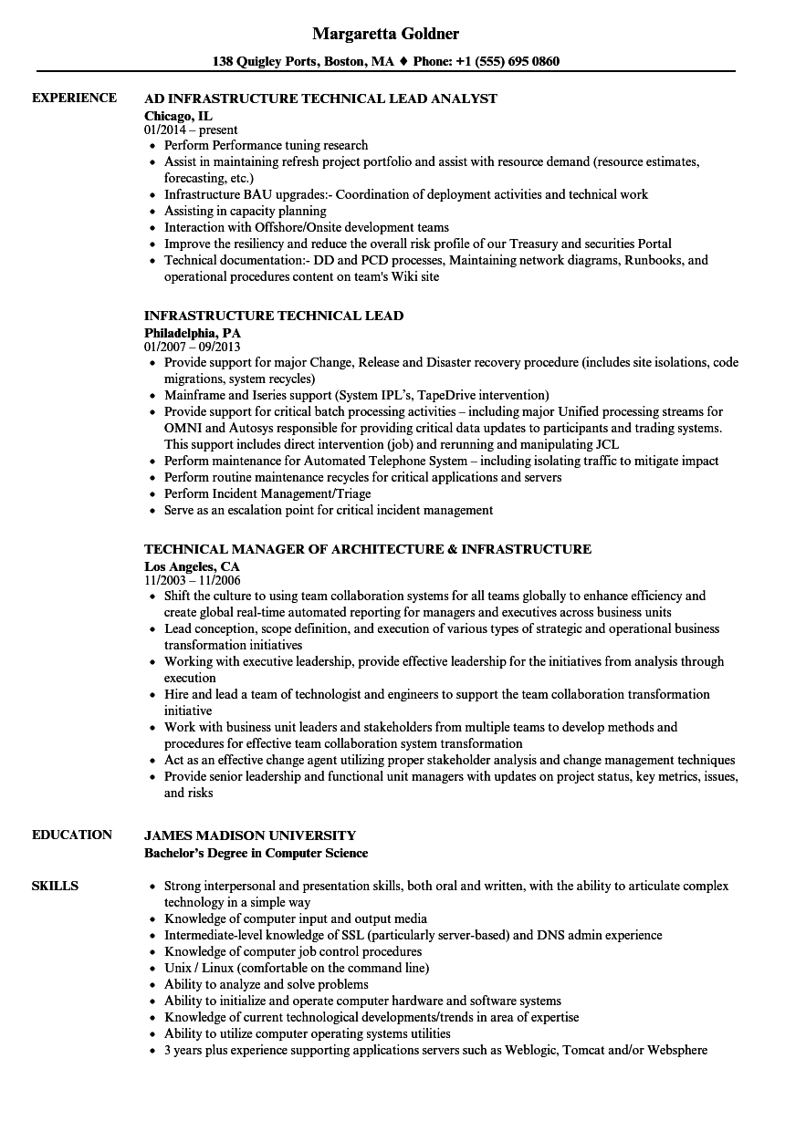 technical infrastructure resume samples