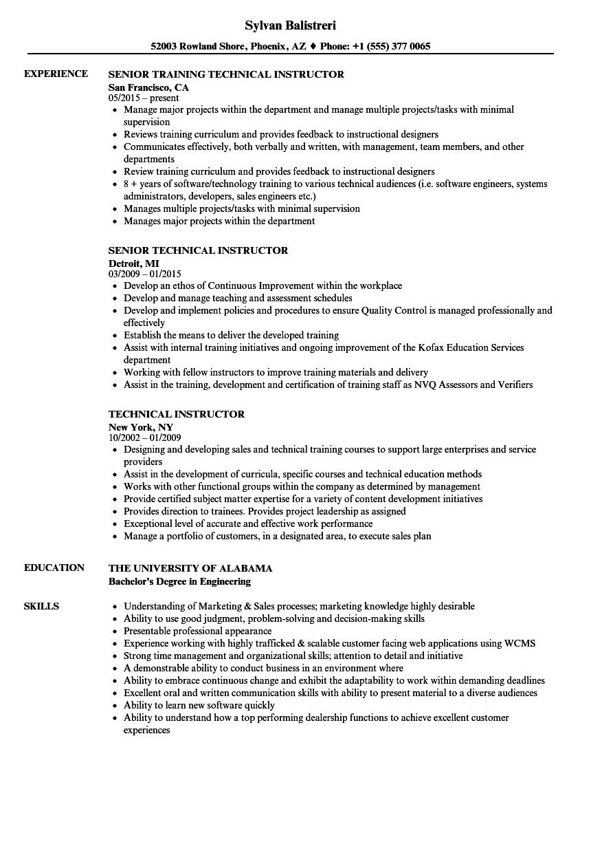 Technical Instructor Resume Samples | Velvet Jobs