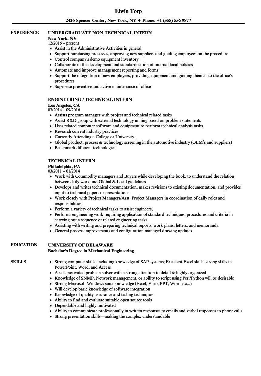 Technical Intern Resume Samples | Velvet Jobs