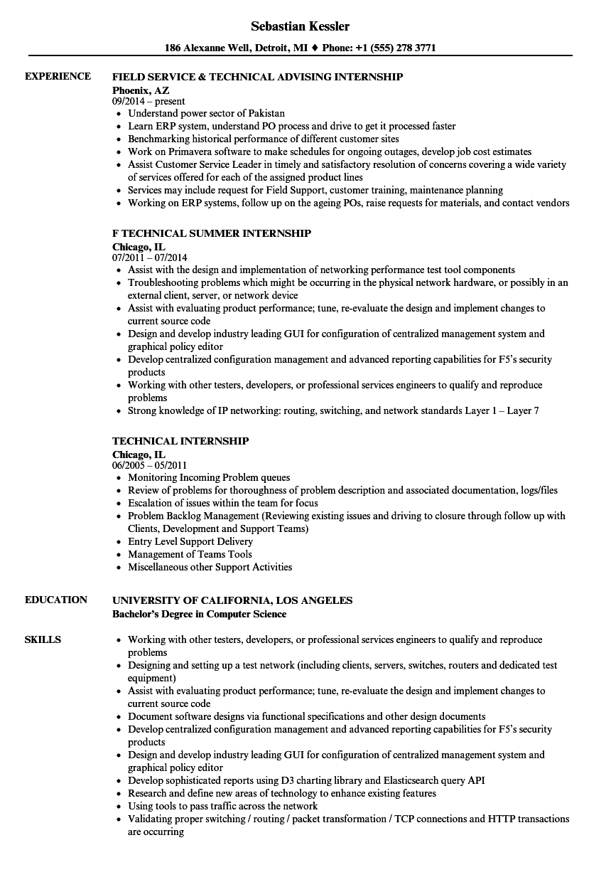 technical internship resume samples